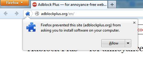 Adblock Plus Firefox Install Window
