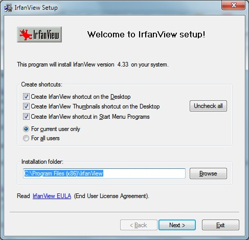 IrfanView Install Window