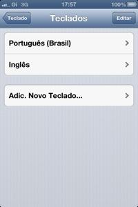 iPhone - Configurações - Adicionar Teclado
