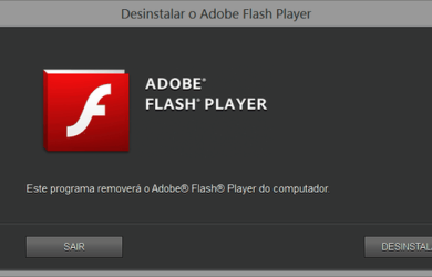 Tela do Desinstalador do Adobe Flash Player