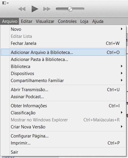 iTunes - Adicionar Arquivo à Biblioteca