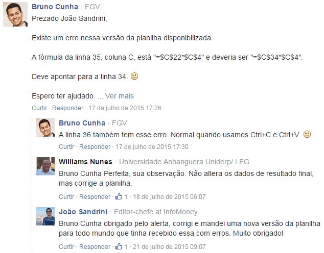 Comentário do Bruno Cunha sobre um erro na planilha do InfoMoney